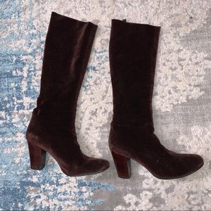 Robert Clergerie Suede Velvet Pull-on Knee boots